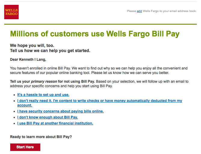 Wells Fargo wants to know why I won't use their bill pay